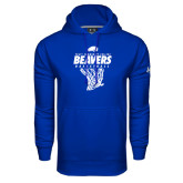 Under Armour Royal Performance Sweats Team Hoodie-Pratt CC Beavers Basketball w/ Hanging Net