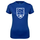 Ladies Syntrel Performance Royal Tee-Soccer Shield w/ Logo