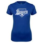 Ladies Syntrel Performance Royal Tee-Beavers Baseball Script w/ Plate