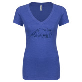 Next Level Ladies Vintage Royal Tri Blend V-Neck Tee-Beaver Head Dark Blue Glitter