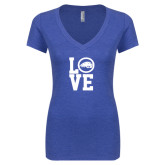 Next Level Ladies Vintage Royal Tri Blend V-Neck Tee-LOVE