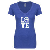 Next Level Ladies Vintage Royal Tri Blend V Neck Tee-LOVE