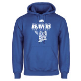 Royal Fleece Hoodie-Pratt CC Beavers Basketball w/ Hanging Net