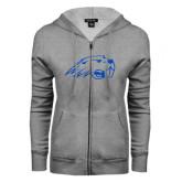ENZA Ladies Grey Fleece Full Zip Hoodie-Beaver Head