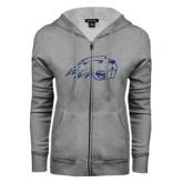 ENZA Ladies Grey Fleece Full Zip Hoodie-Beaver Head Dark Blue Glitter