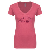 Next Level Ladies Vintage Pink Tri Blend V-Neck Tee-Beaver Head Hot Pink Glitter