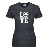Ladies Dark Heather T Shirt-LOVE
