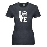 Ladies Dark Heather T Shirt-LOVE