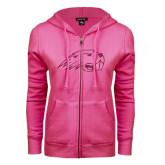ENZA Ladies Fuchsia Fleece Full Zip Hoodie-Beaver Head Hot Pink Glitter