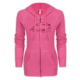 ENZA Ladies Hot Pink Light Weight Fleece Full Zip Hoodie-Beaver Head Hot Pink Glitter