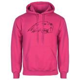 Fuchsia Fleece Hoodie-Beaver Head Hot Pink Glitter