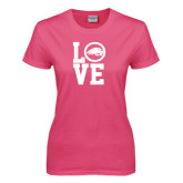 Ladies Fuchsia T Shirt-LOVE