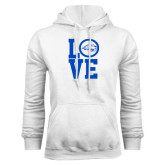 White Fleece Hoodie-LOVE