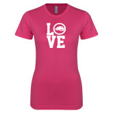 Ladies SoftStyle Junior Fitted Fuchsia Tee-LOVE