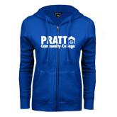 ENZA Ladies Royal Fleece Full Zip Hoodie-Pratt Community College w/ Building Icon