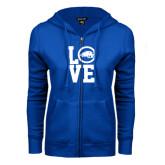 ENZA Ladies Royal Fleece Full Zip Hoodie-LOVE