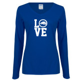 Ladies Royal Long Sleeve V Neck Tee-LOVE