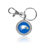 Crystal Studded Round Key Chain-Eagle Head
