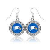 Crystal Studded Round Pendant Silver Dangle Earrings-Eagle Head