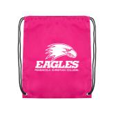 Pink Drawstring Backpack-Signature Mark