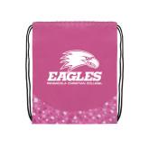 Nylon Pink Bubble Patterned Drawstring Backpack-Signature Mark