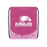 Nylon Zebra Pink/White Patterned Drawstring Backpack-Signature Mark