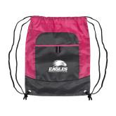 Nylon Pink Raspberry/Deep Smoke Pocket Drawstring Backpack-Signature Mark