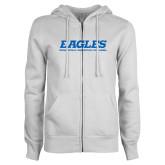 ENZA Ladies White Fleece Full Zip Hoodie-Eagles