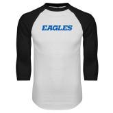 White/Black Raglan Baseball T Shirt-Eagles