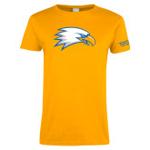 Ladies Gold T Shirt-Eagle Head