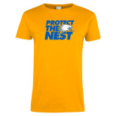 Ladies Gold T Shirt-Protect The Nest