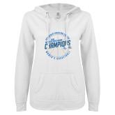 ENZA Ladies White V Notch Raw Edge Fleece Hoodie-2018 Womens Basketball Champions