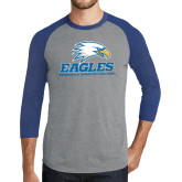Grey/Royal Heather Tri Blend Baseball Raglan-Signature Mark