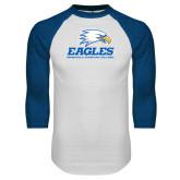 White/Royal Raglan Baseball T Shirt-Signature Mark