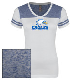 Ladies White/Heathered Royal Juniors Varsity V Neck Tee-Signature Mark