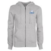 ENZA Ladies Grey Fleece Full Zip Hoodie-Signature Mark