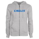 ENZA Ladies Grey Fleece Full Zip Hoodie-Eagles