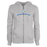 ENZA Ladies Grey Fleece Full Zip Hoodie-Alumni Design