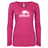 ENZA Ladies Hot Pink Long Sleeve V Neck Tee-Signature Mark