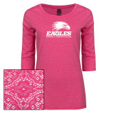 Ladies Dark Fuchsia Heather Lace 3/4 Sleeve Tee-Signature Mark