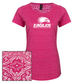 Ladies Dark Fuchsia Heather Lace Tee-Signature Mark