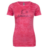 Next Level Ladies Junior Fit Fuchsia Burnout Tee-Eagles Foil