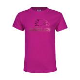 Youth Fuchsia T Shirt-Eagles Foil