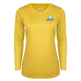 Ladies Syntrel Performance Gold Longsleeve Shirt-Signature Mark