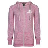 ENZA Ladies Hot Pink Marled Full Zip Hoodie-Signature Mark