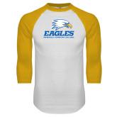 White/Gold Raglan Baseball T Shirt-Signature Mark