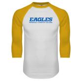 White/Gold Raglan Baseball T Shirt-Eagles