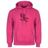 Fuchsia Fleece Hoodie-Primary Mark Hot Pink Glitter