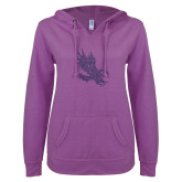 ENZA Ladies Berry V Notch Raw Edge Fleece Hoodie-Primary Mark Purple Glitter