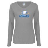 Ladies Grey Long Sleeve V Neck T Shirt-Signature Mark